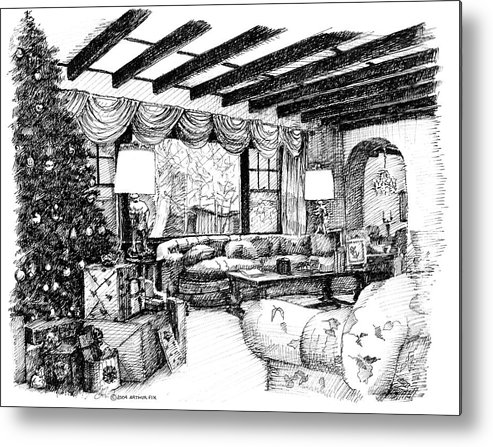 Christmas Metal Print featuring the drawing Christmas Home by Arthur Fix