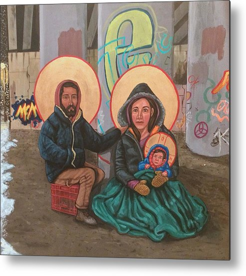 Metal Print featuring the painting Holy Family of the Streets by Kelly Latimore