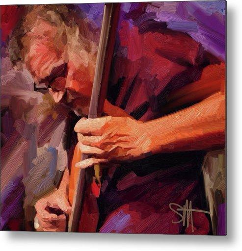 Bass Player Metal Print featuring the digital art Bass Player by Scott Waters