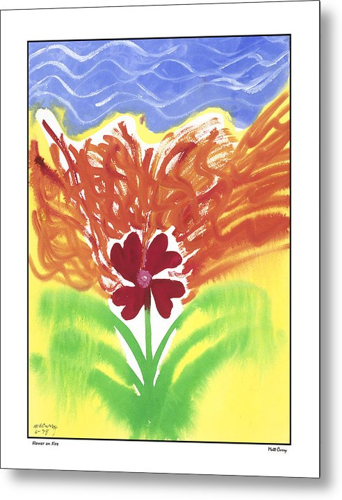 Abstract Metal Print featuring the painting flower on Fire by Matt Curry