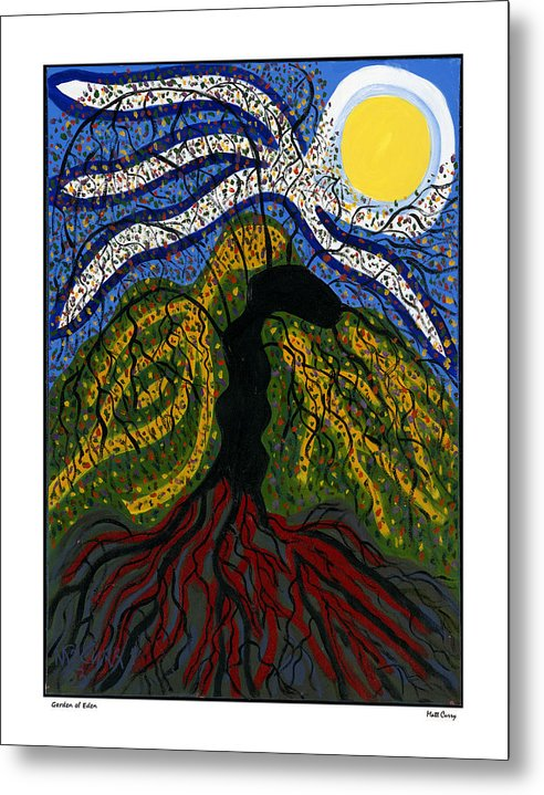 Abstract Metal Print featuring the painting Garden Of Eden by Matt Curry