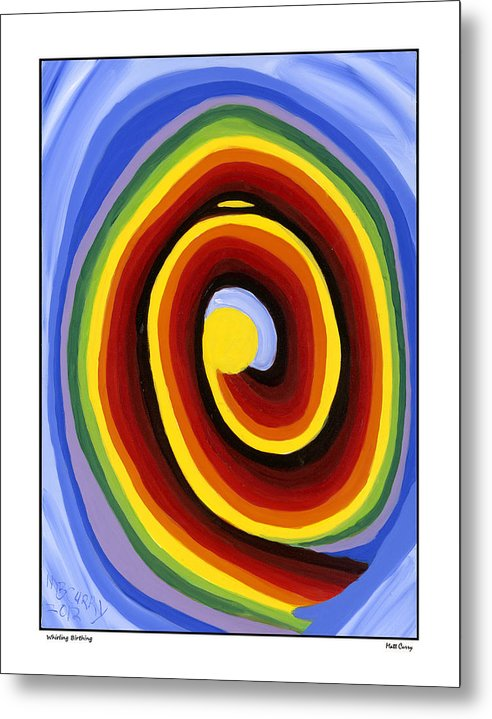Abstract Metal Print featuring the painting Whirling Birthing by Matt Curry