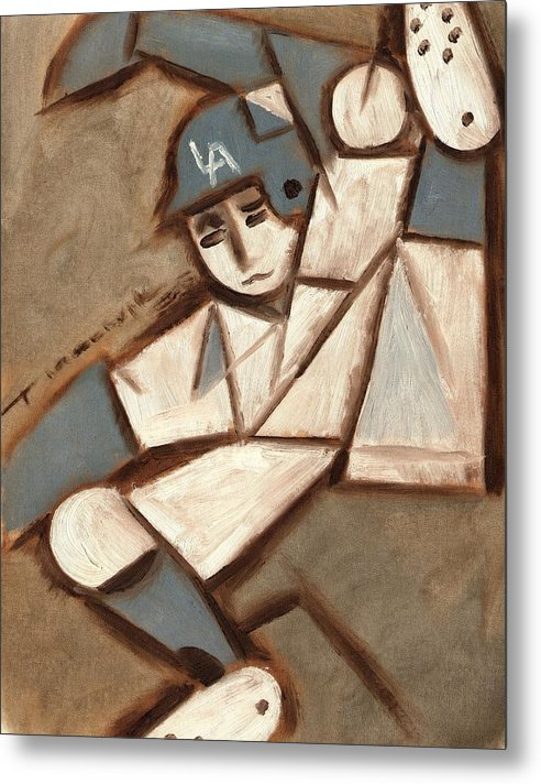 Los Angeles Dodgers Metal Print featuring the painting Cubism La Dodgers Baserunner Painting by Tommervik