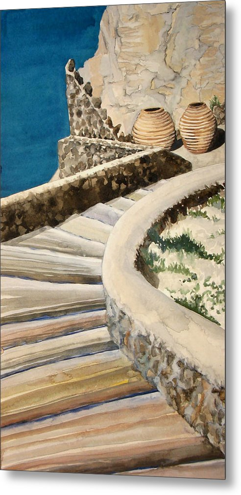 Watercolor Metal Print featuring the painting Greekscape 3 by Caron Sloan Zuger