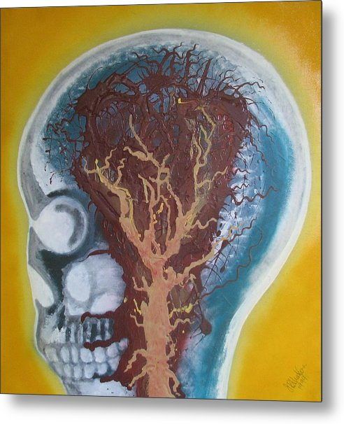Skull Metal Print featuring the painting Inside The Brain by Joan Stratton