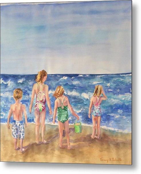 Beach Metal Print featuring the painting Just Beachy by Nancy Henkel Schulte