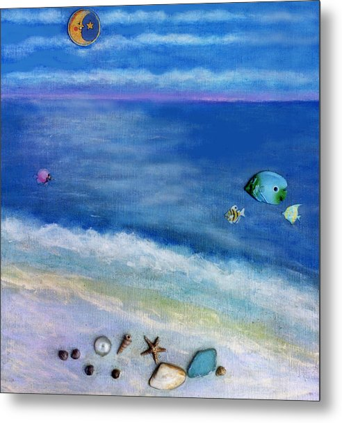 Beach Metal Print featuring the painting Three Beaches C by Mary Ann Leitch