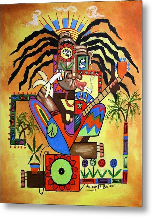 Ya Mon 2 No Steal Drums Metal Print featuring the painting Ya Mon 2 No Steal Drums by Anthony Falbo