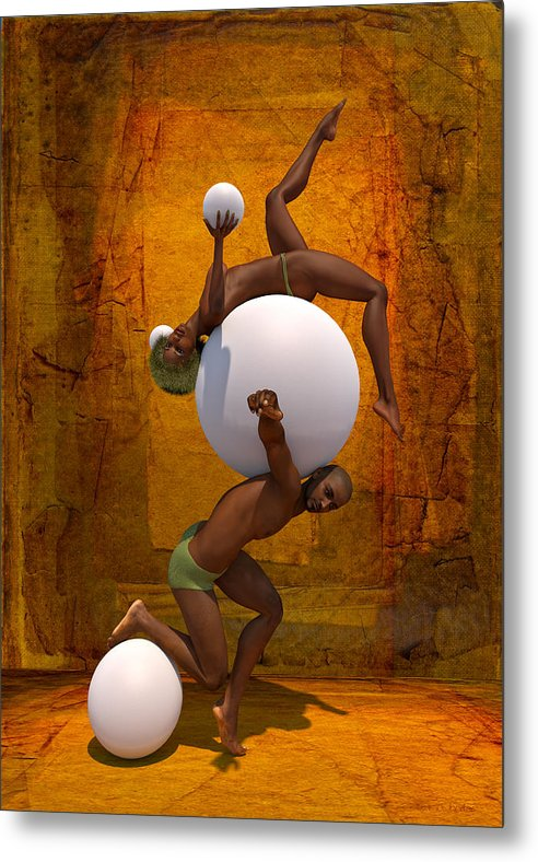 Nubian Metal Print featuring the painting Trust-spheres by Williem McWhorter