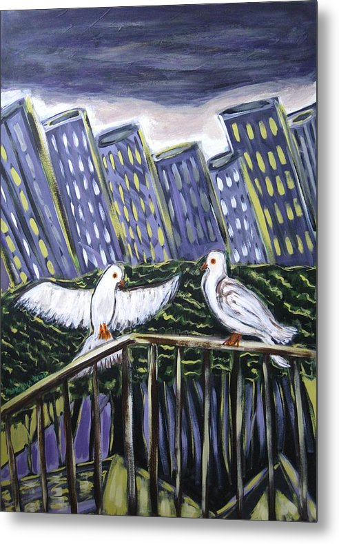 Animals Metal Print featuring the painting Dos Doves by Albert Almondia