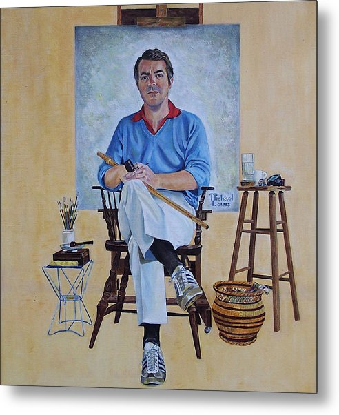 Portraiture Metal Print featuring the painting A Rockwell Tribute by Michael Lewis