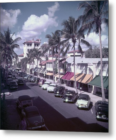 1950-1959 Metal Print featuring the photograph Palm Beach Street by Slim Aarons