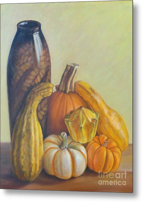 Pumpkins Metal Print featuring the painting Composition by Ziba Bastani
