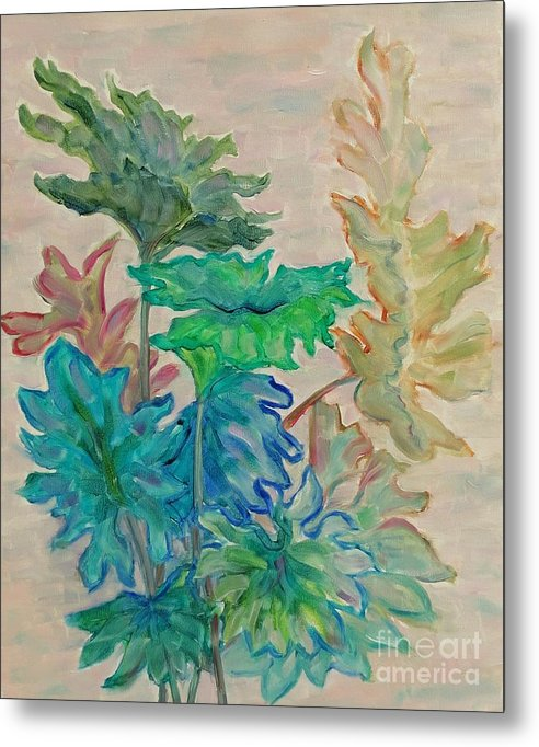 Abstract Metal Print featuring the painting Leaves by Ziba Bastani