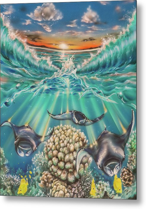 Coral Reefs Sunset Waves Yellow Tang Oceanic Aloha Metal Print featuring the painting Rays of Light by Joel Salinas III