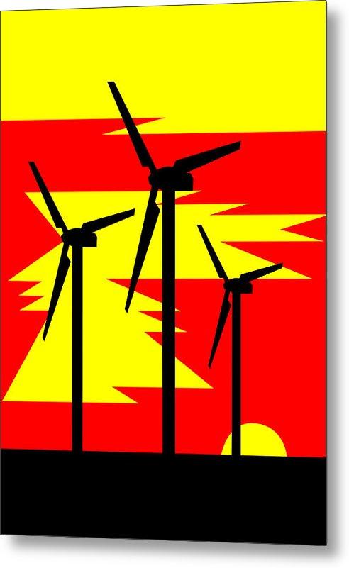 Windmill Sunrise Metal Print featuring the digital art Windmill Sunrise by Asbjorn Lonvig