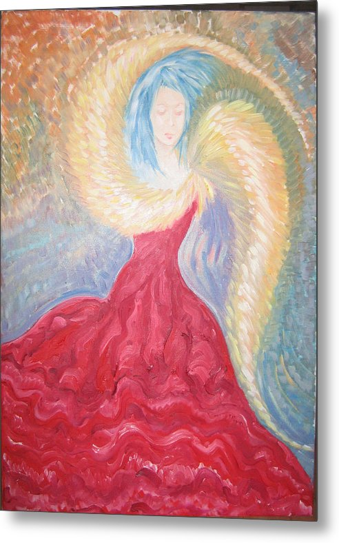 Angel Metal Print featuring the painting Angel Of Fire by Helene Champaloux-Saraswati