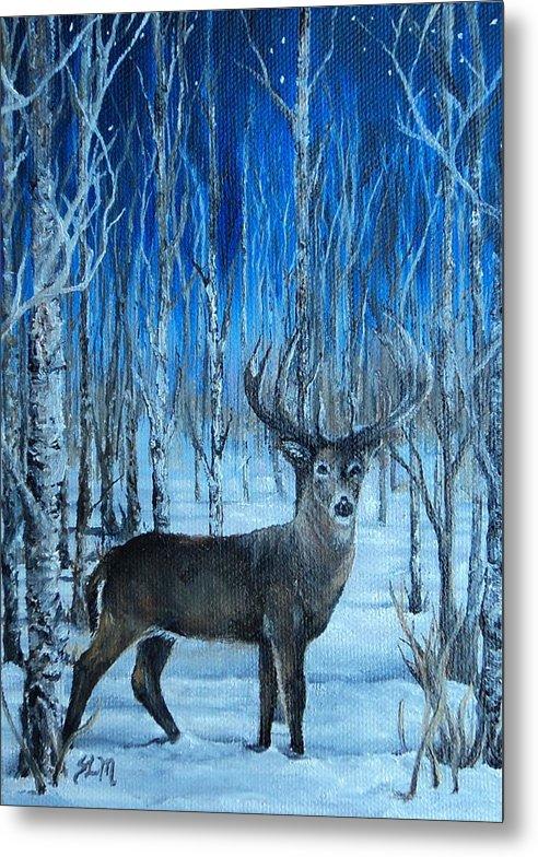 Deer Metal Print featuring the painting Moonlit Walk by Sherri Menozzi