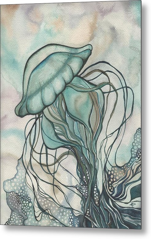 Marine Metal Print featuring the painting Black Lung Green Jellyfish by Tamara Phillips