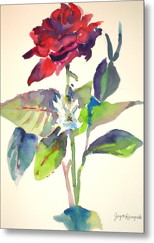 Rose Metal Print featuring the painting A Rpse by Joyce Kanyuk