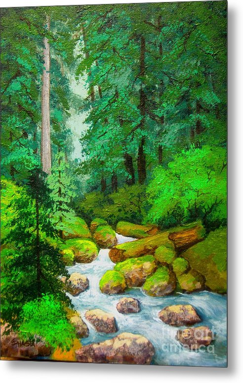 Landscape Metal Print featuring the painting Along The Rogue by Shasta Eone