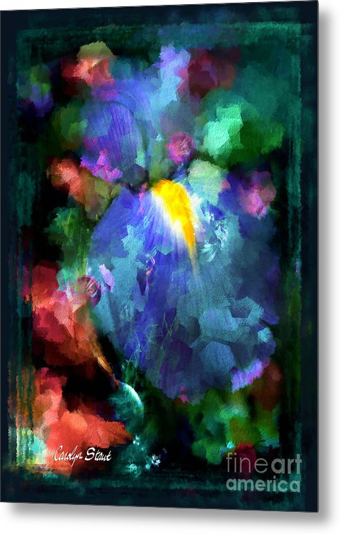 Abstract Foral Abstracts Blue Iris Wall Art Metal Print featuring the painting Dancing Iris by Carolyn Staut