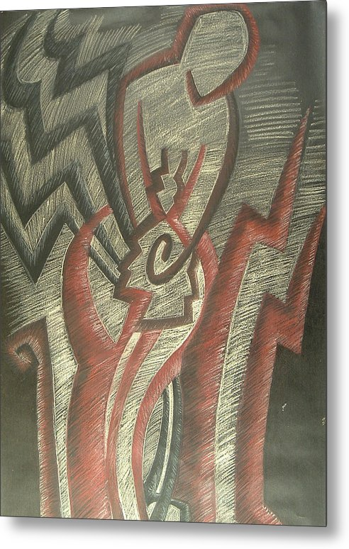 Drawing Metal Print featuring the drawing Inner Turmoil Detail by Donald Burroughs