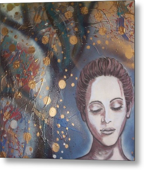 Lady Metal Print featuring the drawing Fairy Lights by Joan Stratton