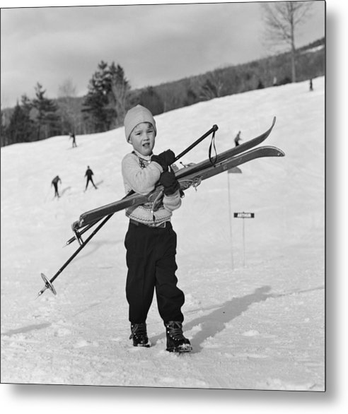 Skiing Metal Print featuring the photograph New England Skiing by Slim Aarons