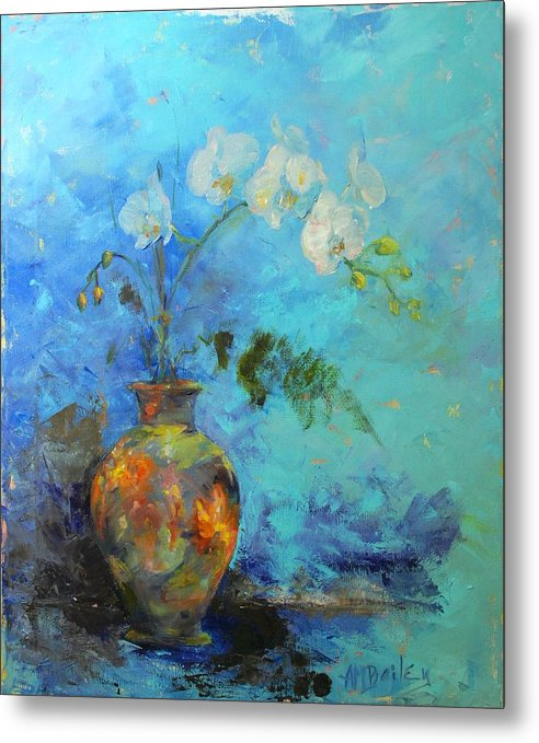 Orchids Metal Print featuring the painting Royal Orange by Ann Bailey