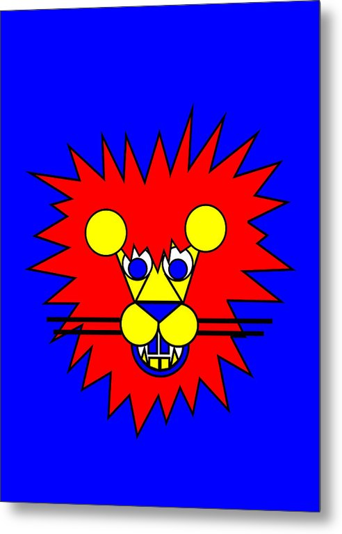 Mister Lion. Lion Metal Print featuring the digital art Mister Lion by Asbjorn Lonvig