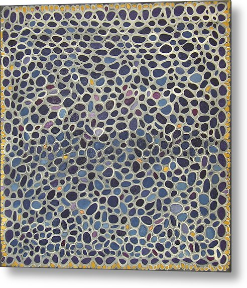 Blue Abstract Metal Print featuring the painting Blue Net by Ani Magai