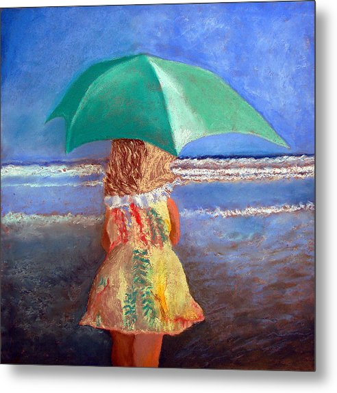 Seascape Metal Print featuring the drawing A Walk By The Sea by Rf Hauver