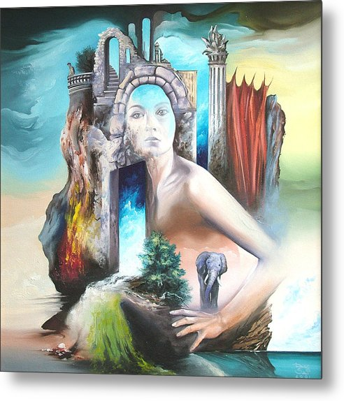 Metal Print featuring the painting Enchanted Island by Zoltan Ducsai