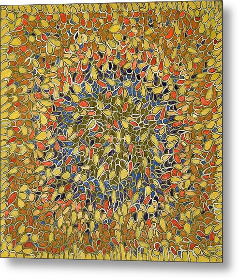 Abstract Yellow Metal Print featuring the painting Web Of Life by Ani Magai