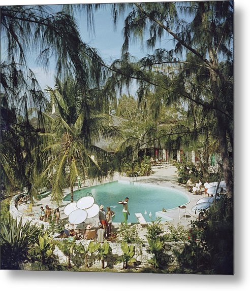 Swimming Pool Metal Print featuring the photograph Eleuthera Pool Party by Slim Aarons