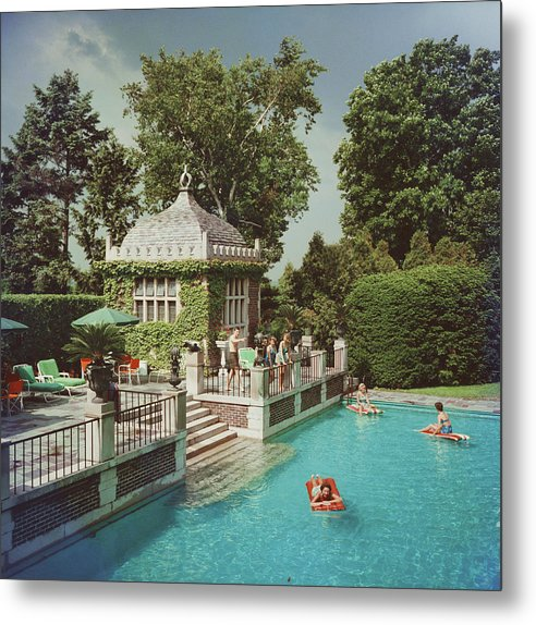 Swimming Pool Metal Print featuring the photograph Family Pool by Slim Aarons