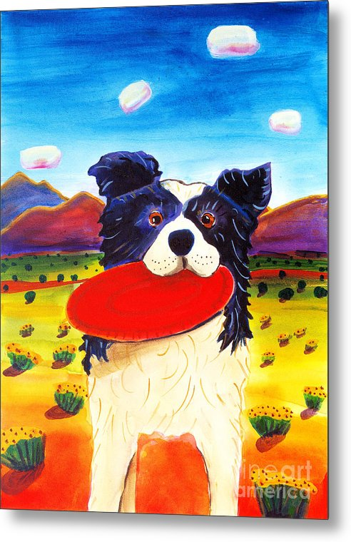 Dog Metal Print featuring the painting Frisbee Dog by Harriet Peck Taylor