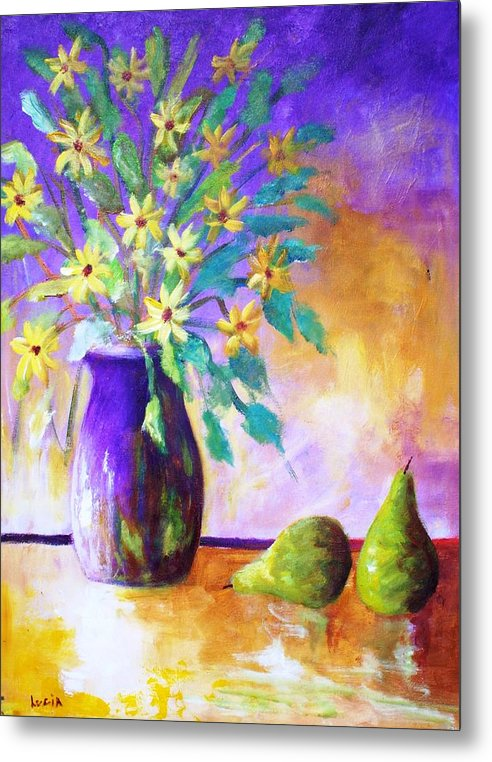 Moonbeam Flowers. Vases. Semi-absrtact. Print. Metal Print featuring the print Moonbeams by Carl Lucia
