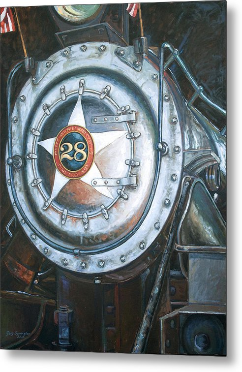 Train Metal Print featuring the painting No. 28 In The Shed by Gary Symington