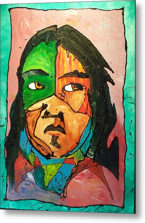 Abstract Metal Print featuring the painting One Of Two Of The Twins by Ernie Scott- Dust Rising Studios
