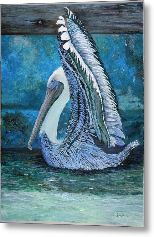Nature Metal Print featuring the painting Posing Pelican by Linda Speaker