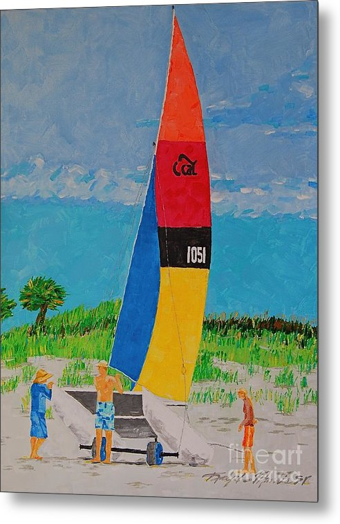 Beach Art Metal Print featuring the painting Sail Preparation by Art Mantia