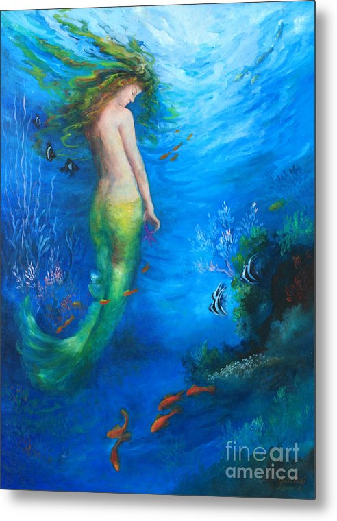 Mermaid Metal Print featuring the painting To The Surface by Gail Salitui