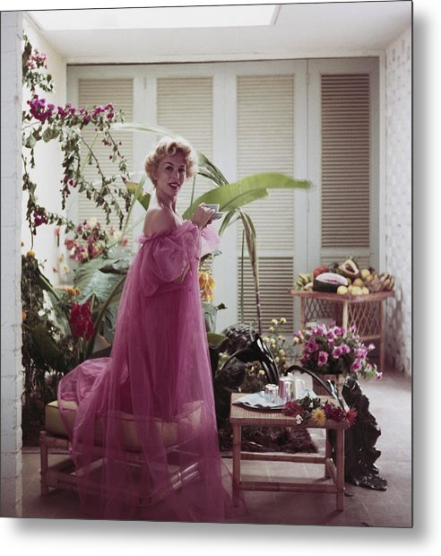Nightie Metal Print featuring the photograph Eva Gabor by Slim Aarons