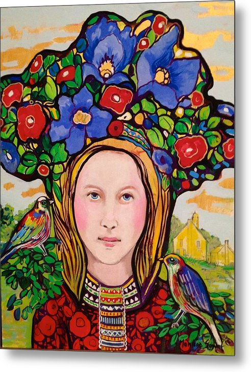 Birds Metal Print featuring the painting Girl with hat by Marilene Sawaf