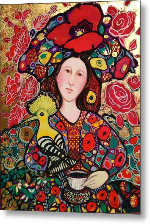 Flowers Metal Print featuring the painting Girl with red hat and yellow bird by Marilene Sawaf