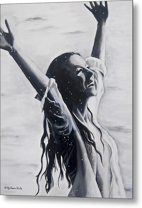 Girl Metal Print featuring the painting Lake Swan Splash by Judy Swerlick