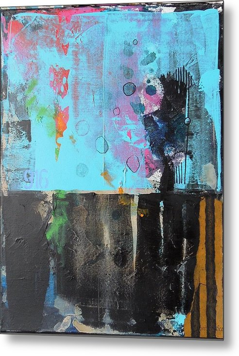 Abstract Mixed Media Collage On Canvas Metal Print featuring the mixed media Nine One Six by Jo Ann Brown-Scott