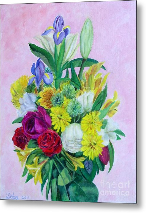 Floral Metal Print featuring the painting Fresh cut bunch by Ziba Bastani
